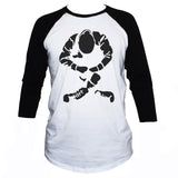 Sitting skinhead Graphic black print on white 3/4 sleeve t shirt