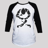 Sitting skinhead black print on white 3/4 sleeve t shirt