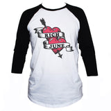 Rich June Heart And Arrow Tattoo Style Baseball Graphic T shirt