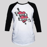 Heart and Arrow Baseball T shirt 3/4 Sleeve Unisex Graphic Top