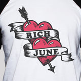 Rich June Heart And Arrow Tattoo Style Baseball 3/4 Sleeve Graphic T shirt