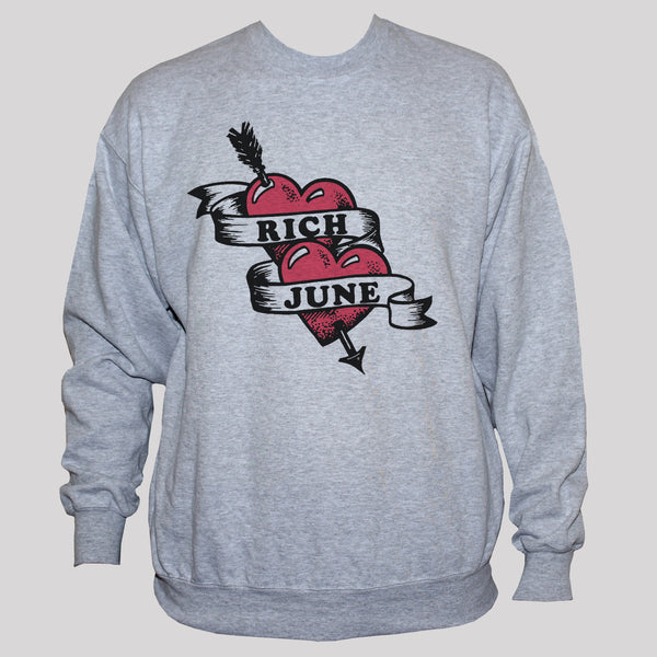 Arrow through heart sweatshirt Unisex Grey