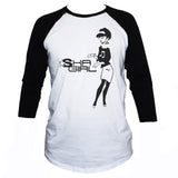 ska girl 2 tone 3/4 sleeve baseball graphic t shirt