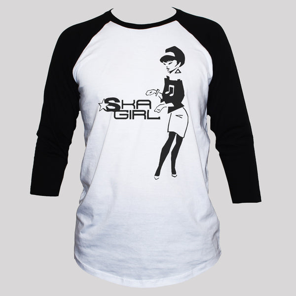 ska girl two tone t shirt unisex baseball 3/4 sleeve tee
