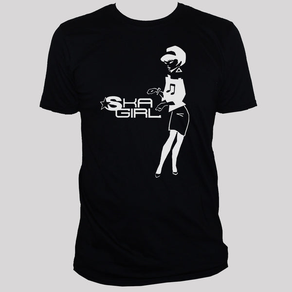 Rude Girl Ska Two Tone Retro Style Graphic T shirt Black