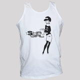 black ska girl print on white t shirt vest