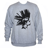 Grey Punk Rock Girl Graphic Sweatshirt Unisex Printed Jumper On White background