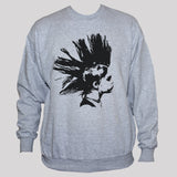 Punk Rock Girl Graphic Sweatshirt Unisex Grey Polycotton Jumper