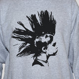 Mohawk Girl Black Print On Grey Unisex Sweatshirt