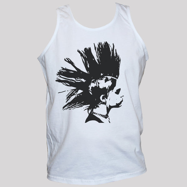 Punk Rock Girl Printed Vest Unisex Graphic Tank Top White