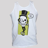 Mr Death Skull Funny T shirt/Vest Goth Halloween Unisex White Tee