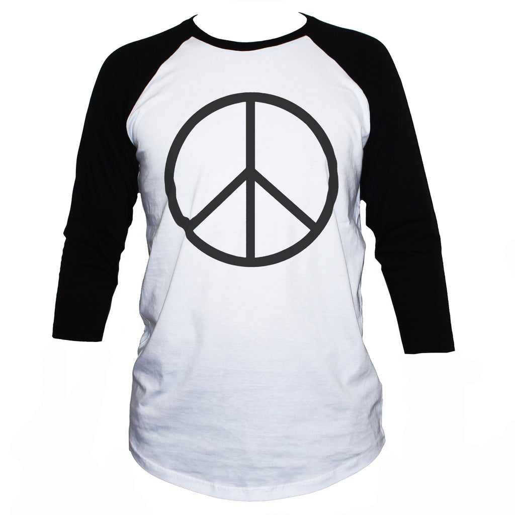 Peace Sign-Symbol T shirt Anti War Political Activist Raglan 3/4 Sleeve Tee