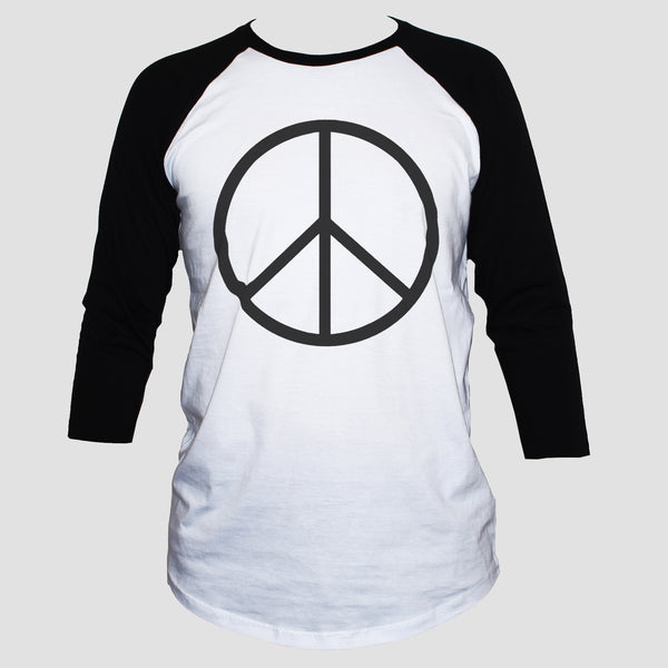 Peace Sign-Symbol T shirt Anti War Political Activist Raglan 3/4 Sleeve Top