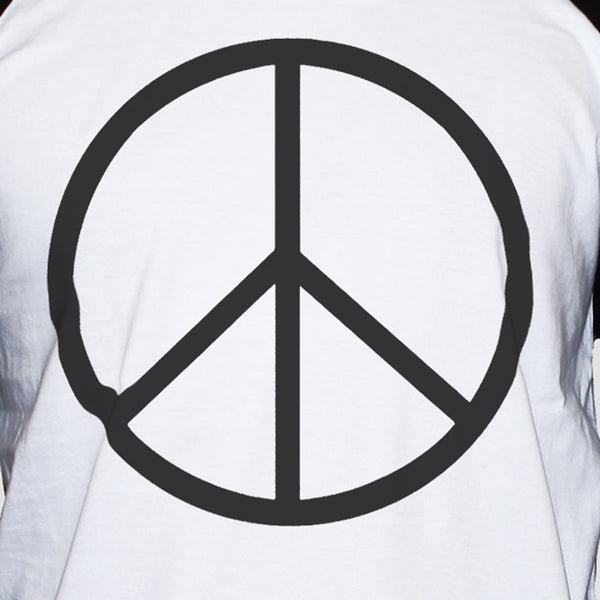 Peace Sign-Symbol T shirt Anti War Political Activist Raglan 3/4 Sleeve Tee Close Up Photo