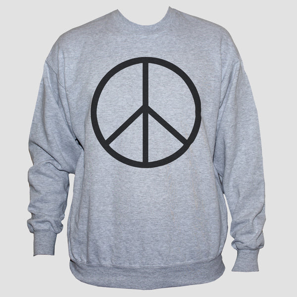 Peace Sign-Symbol Sweatshirt Anti War Political Activist Pacifist Sweater Grey
