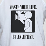 Funny Slogan Artist Student T shirt Vest Unise White Graphic Singlet Tank Top Close up photo