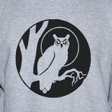 Black Owl Print On Grey Sweatshirt/ Unisex Goth Tattoo Jumper Sweater