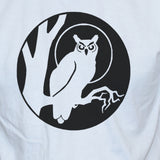 Owl T shirt Black Print On White Cotton