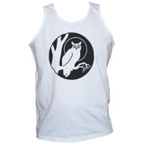 Black Owl Print On White Cotton Vest