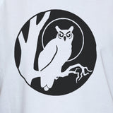 Black Owl Print On White Cotton Vest/ Unisex Bird Graphic Tank Top