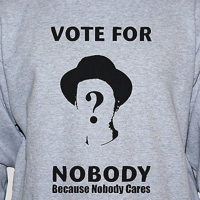 "Political Anarchist ""Vote For Nobody"" T shirt grey"