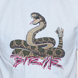 Snake Cobra Bite Me T shirt Unisex  Rockabilly Statement Slogan white tee close up