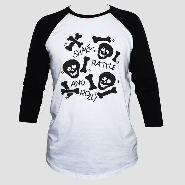 Skulls And Bones 3/4 Sleeve Graphic T shirt Unisex Baseball Tee