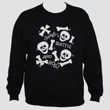 Skulls And Bones Sweatshirt White Print On Black Jumper