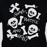 Skulls And Bones Graphic T shirt White Print On Black Tee Close Up