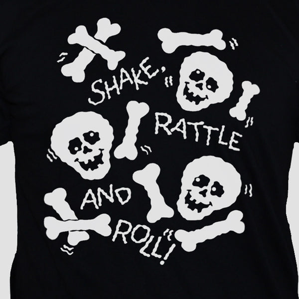 Funny Skulls And Bones Graphic T shirt White Print On Black Tee Close Up