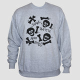 Skulls And Bones Unisex Grey Graphic Sweatshirt Jumper Sweater