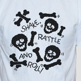 Skulls And Bones Graphic T shirt Black Print On White Tee Close Up
