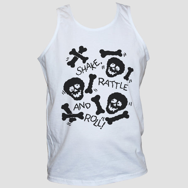 98145b6bba1be Shake Rattle And Roll T shirt Vest Skull And Bones Goth Funny Graphic Tee