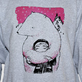 Polar Bear Animation Style Sweatshirt Grey Unisex Kawaii Graphic Sweater Jumper