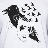 Crow Mask Baseball T shirt Art Tattoo Unisex Graphic Tee Close Up