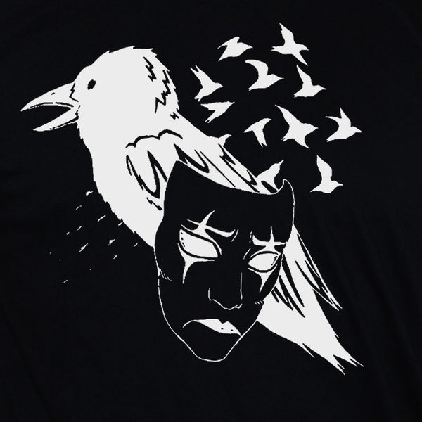 Crow T shirt/ Mask Art Tattoo Emo Style Unisex Black Shirt