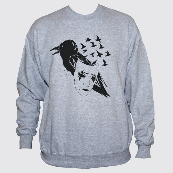 Crow Raven Mask Sweatshirt Art Tattoo Emo Jumper Sweater