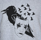 Crow Raven Mask Grey Sweatshirt Art Tattoo Emo Jumper Sweater Close Up