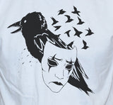 Crow Mask T shirt Art Tattoo Emo Style Unisex White Top