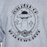 ufo funny t shirt alien abduction unisex graphic tee grey colour