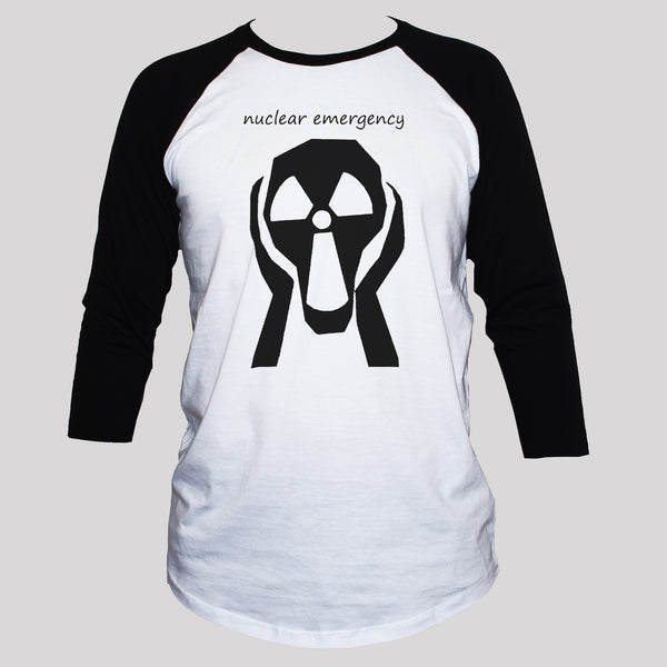 Anti-Nuclear War T shirt/ Political anti-war protest 3/4 sleeve baseball tee