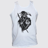 Grim Reaper Death Skull T shirt Vest White Unisex Punk Rock Top