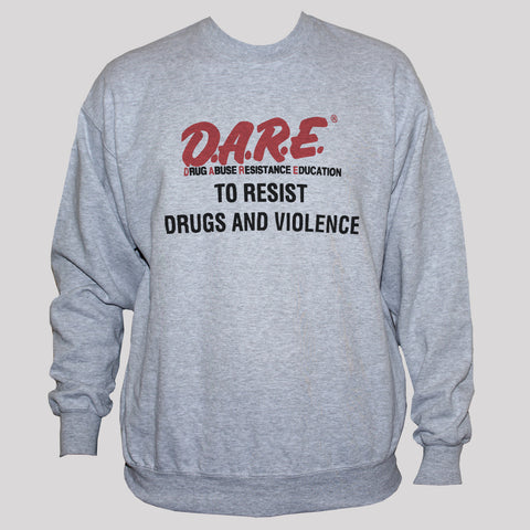 Political Protest Anti Drugs/Violence Retro Sweatshirt Grey