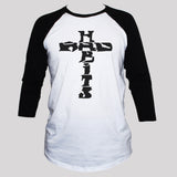 Cross T shirt 3/4 Sleeve Men/Women Grunge Rockabilly Tattoo Style Top