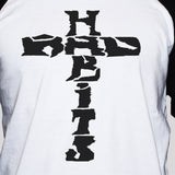 Bad Habits 3/4 Sleeve T shirt Unisex Grunge Rockabilly Tattoo Style Top