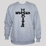 Cross Sweatshirt Rockabilly Biker Tattoo Grunge Style Grey Jumper