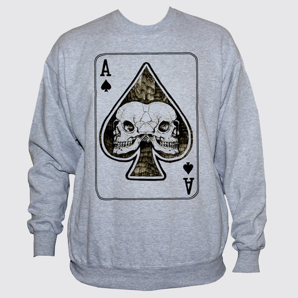 Ace Of Spades Card With Two Skulls Rockabilly Goth Style Sweatshirt