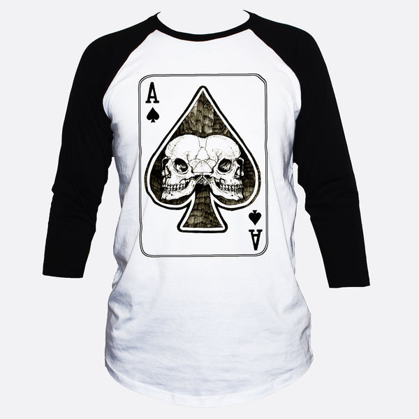 Ace Of Spades Skulls 3/4 Sleeve Goth/Rockabilly Style T shirt