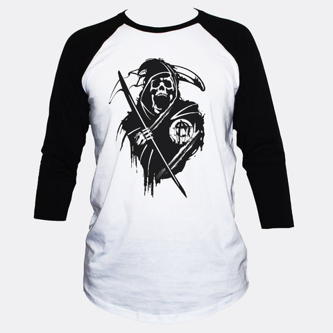 Anarchist Grim Reaper Skull T shirt 3/4 Sleeve Goth/Punk Style Top