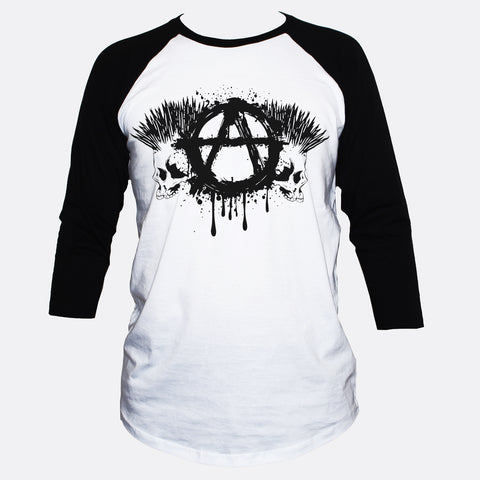 Anarchist Logo/Sign And Two Punk Skulls T shirt 3/4 Sleeve